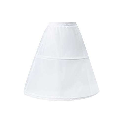 Haptian Vrouwen Bloem Meisjes 2 Hoops Korte Witte Petticoat Trekkoord Tailleband Een Laag Half Slip Crinoline Onderrok Met Magic Sticker (Wit-Lengte:52cm/20.47in 1 Stuk)