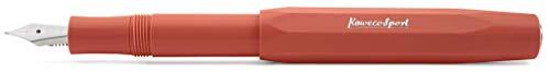 Kaweco Füllfederhalter Skyline Sport Rot I Premium Füllfederhalter Luxus für Tintenpatronen mit hochwertiger Stahlfeder I Kaweco Sport Füller 13,5 cm Fox Federbreite: B (Breit)