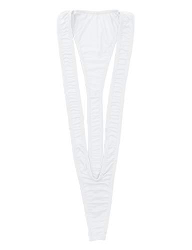 iixpin Damen Monokini Slingshot Micro Mini Bikini Einteiler Stringbody Erotik-Body Badeanzug Thong Teddy G-String Weiß One Size