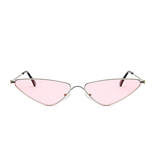 YHKF Gafas De Sol Triangulares con Forma De Ojo De Gato para Mujer con Montura Metálica, Gafas De Sol Vintage para Mujer, Gafas De Sol Pequeñas para Mujer, Gafas Retro Uv400-Rosa