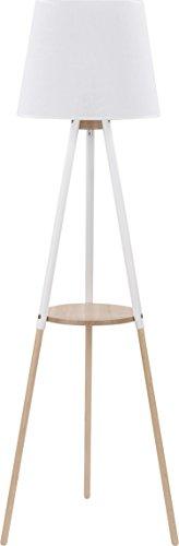 Stehlampe Creme Weiß Holz 148cm 3-beinig E27 Trichter Stoffschirm Skandinavisches Design Stehleuchte Standleuchte