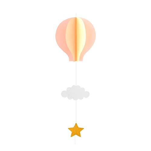 Amosfun Papier Girlande 3D Heißluftballon Form mit Wolken Stern Anhänger Baby Mobile Fenster Wand Hängende Deko für Babyparty Kinderzimmer Deko (Hellrosa + Dunkelrosa + Beige)