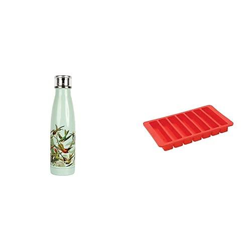 BUILT Perfect Seal Borraccia/Thermos Isolato a Tenuta Stagna, 480 ml + Vaschetta da Cubetti di Ghiaccio per Bottiglia dell'Acqua in Silicone Flessibile Privo di BPA, Rosso, 19.5 cm x 11.5 cm