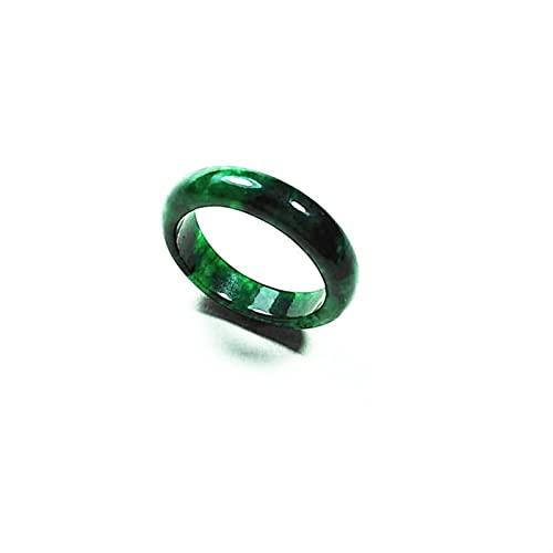 YZDKJ Los Amantes Naturales de los Hombres de los Hombres del Jade Verde de Las Mujeres Esmeralda Hecha a Mano de Jade Anillos de la Mano Tallado de Manos Valientes Tropas Jade Anillo joyería