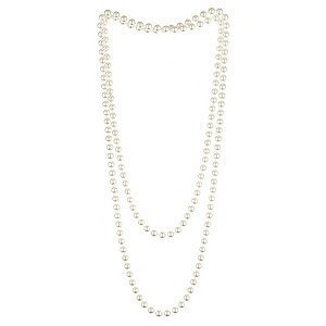 1920s Charleston Fancy Dress Pearl Beads Plastic - Ideal for Great Gatsby fancy dress party, great accessory - Complete your flapper girl look (Pearl Necklace)