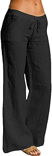 RUSHAIBAR Women's Cotton Linen Long Lounge Pants High Waist Drawstring Loose Fit Casual Trousers with Pockets Black L