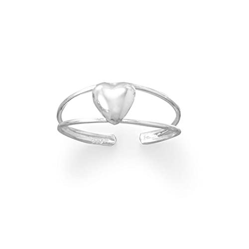 Anillo de plata de ley 925 con forma de corazón de amor dulce pedi perfecto pulido de dos líneas, medidas ajustables de 5,9 mm de forma cónica, joyas regalos para mujeres