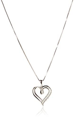 "Sterling Silver Diamond Double Heart Pendant Necklace (1/10 cttw),18"""