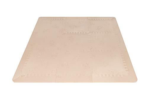 LuBabymats - Alfombra puzzle infantil para bebés de Foam (EVA), suelo extra acolchado para niños, Color Beige