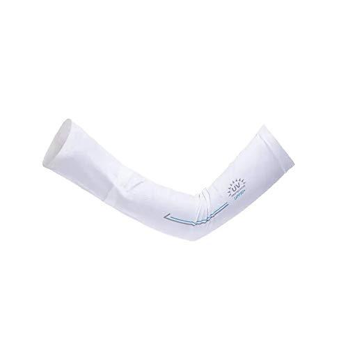 Yaunli - Manguitos transpirables para hombre y mujer, sensación fresca, UV, ciclismo, conducción, equitación, protección solar, para brazo (color: blanco, tamaño: L)
