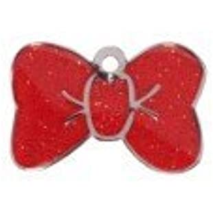 Customised Small Red Sparkle Bow Tie Pet Tag:Firmwarerom
