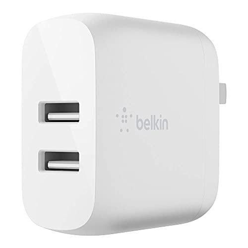 Belkin USB充電器 2ポート 24W(12W USB-A x 2) 折りたたみ式プラグ iPhone 13 / 12 / 11 / SE/iPad/Androidスマホ各種対応 BOOST↑CHARGE WCB002dqWH-A