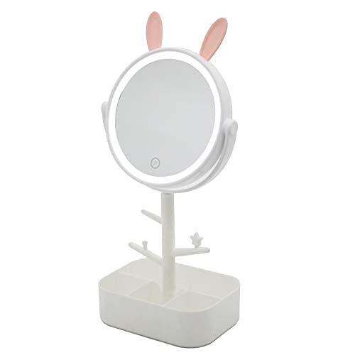 Busirsiz Light Makeup Espejo recargable Vanity Mirror Pantalla de contacto Dimmable Espejo con Pendientes Soporte Soporte Espejo de escritorio Con Base de Almacenamiento Detachable Noche Luz Maquillaj
