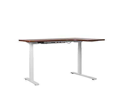 Beliani Steh Schreibtisch elektrisch höhenverstellbar rechts braun/weiß 160x110 Destin II