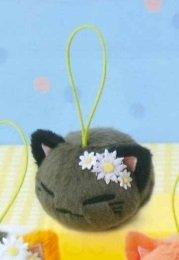 Nemu Neko Nemuneko Sleepy Cat Katze Plüsch Anhänger White Flowers: Schwarz