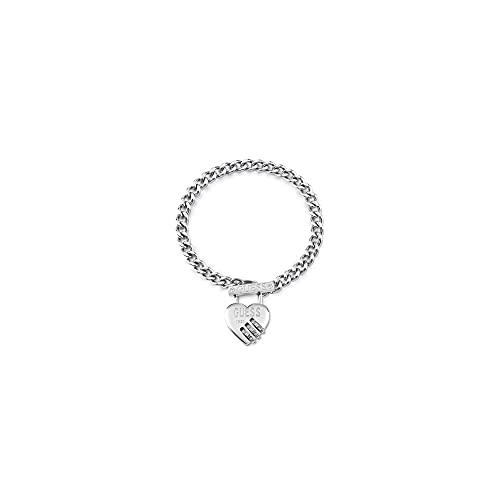 Guess Jewellery Lock Me Up - Pulsera de plata con candado en forma de T (cierre de corazón)