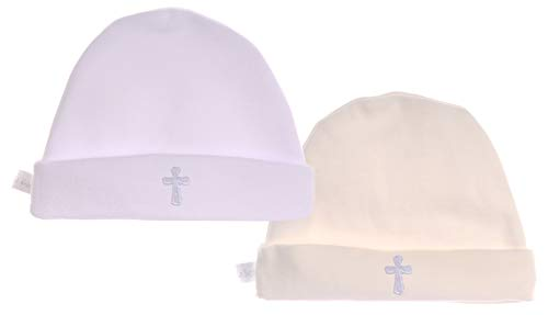La Bortini Mütze Taufmütze 34-48 0 bis 36 Monaten Babymütze Baby Haube Weiß Creme Ecryl Ivory (Weiß, 6-12 Monate)