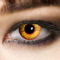 farbige Kontaktlinsen Ork, gelb-rote 3-Monats Halloween Linsen Zombie Linsen, Steampunk Zombie Make up Zombie Schminke Cosplay, Manga