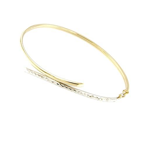 Lucchetta Schmuck - 9 Karat Damenarmband aus Weißgold und Gelbgold, Bicolor Gold 375 Armreif 18 cm für Mädchen und Damen