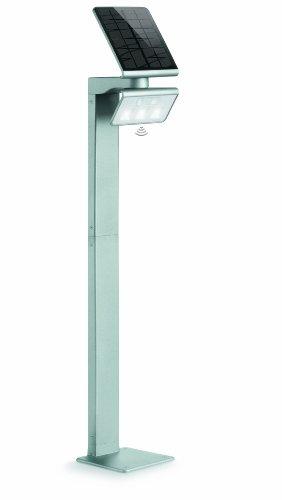 Steinel LED Solarleuchte XSolar GL-S silber, höhenverstellbar, 150 lm, 140° Bewegungsmelder, 5 m Reichweite, Grundlicht