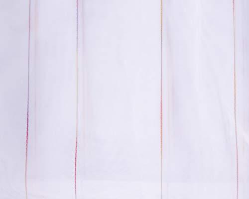 Mooi leven. Gordijnstof Stores webstrepen kleurverloop transparant met loodband wit oranje paars 260 hoog