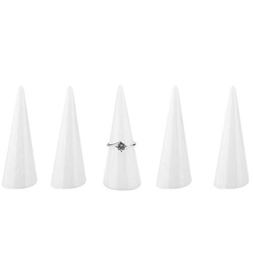 Openg Organizador Joyas Expositor Pendientes Soporte de joyería de un Solo Dedo Anillo de Almacenamiento de joyería y bisutería Escaparate de la exhibición White