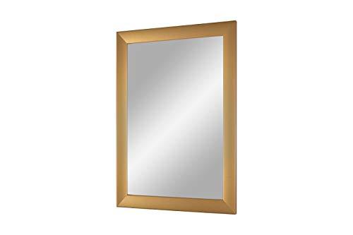 FRAMO Trend 35 - wandspiegel met lijst (eenvoudig goud goud), spiegel op maat met 35 mm brede MDF-houten lijst - op maat gemaakte spiegellijst incl. spiegel en stabiele achterwand met hangers 95 x 80 cm (Außenmaß) goud eenvoudig