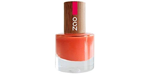 Zao esmalte de uñas 647rejilla con tapa de bambú (Natural maquillaje, Vegano)), color naranja
