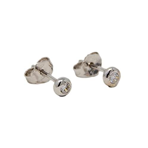 Pendientes de botón de oro blanco de 18 quilates 750 clásico punto de luz con circonita transparente para mujer, hombre y mujer