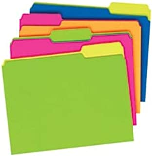 Pendaflex Glow File Folders, Twisted Twin Tabs, 1/3 Cut, Letter Size, Assorted Colors, Pack of 24
