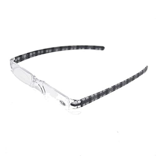 Henghao 携帯用 超軽量リムレス 老眼鏡 8色選択可能 シニアグラス おしゃれ リーディンググラス 専用ケース付 H6035 (ブラック チェック柄, +2.50)