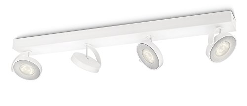 Philips myLiving Clockwork - Barra de 4 focos LED, iluminación interior, aluminio, color blanco luz blanca cálida