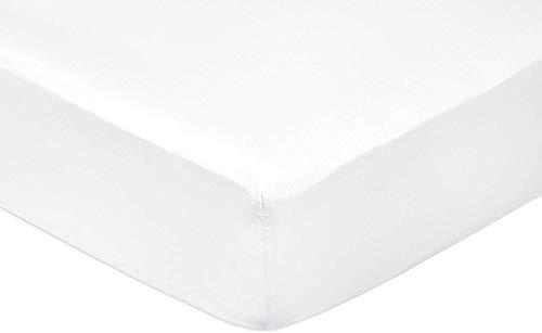 AmazonBasics Spannbetttuch, Baumwoll, Satin Fadenzahl 400, knitterarm, 140 x 200 x 30 cm - weiß