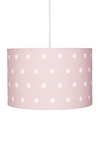 Deckenlampe für Kinderzimmer Hängeleuchte Lampenschirm mit Punkten in rosa Weiss, 30x20 cm, E27, 60 Watt, 230Volt