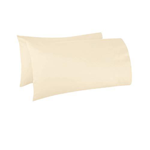 Pizuna - Set de 2 Fundas de Almohada de 400 Hilos, 100% Fibra Larga Las Fundas de Almohada, Lujoso Suave Tejido Saten (Fundas de Almohada de 100% algodón, Crema 45x75 cm)