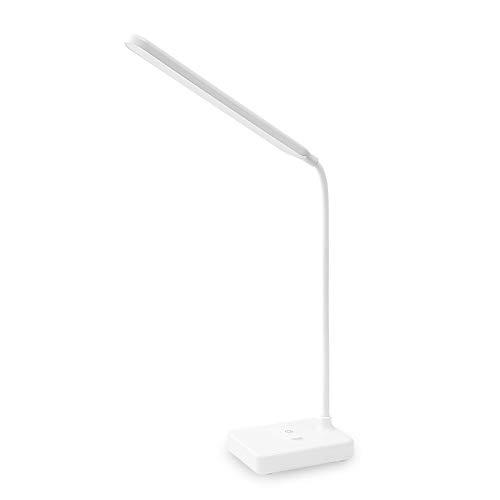 Lámpara Escritorio LED,Flexo de Escritorio(Cuidado Ocular,Puerto USB,3 Modos de luz,3 Niveles de Brillo)Lámparas de Mesa Recargables Regulables-1200mah Plegable Luz[Clase de eficiencia energética A++]