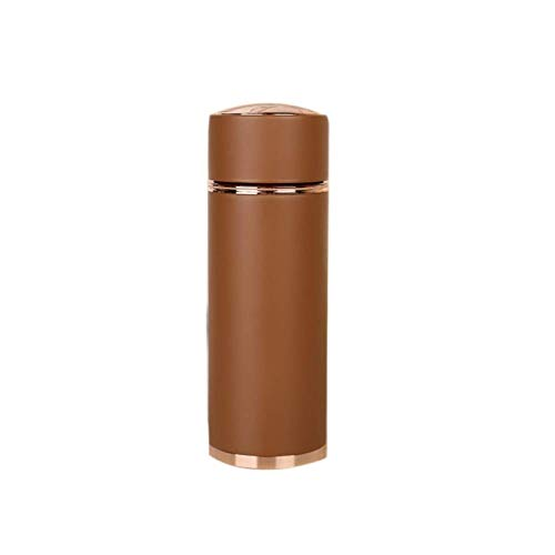 Portable Coffee Travel Mug Business Office Frosted Water Cup,Double Wall Vacuum Flask-450ml Stainless Stee Water Bottle Insulated Travel Mug with Tea and Coffee Filter–Brown the Best Gift for Winter