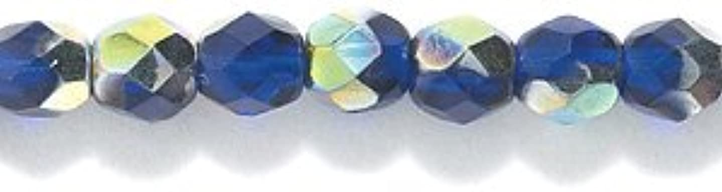 Preciosa Czech Fire 4 mm Faceted Round Polished Glass Bead, Cobalt Vitrail, 300-Pack