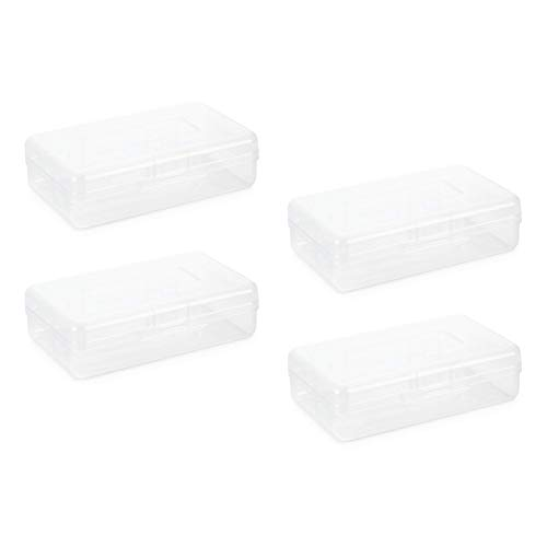 Blue Summit Supplies Clear Plastic Pencil Boxes, Translucent Pencil Boxes for School, Crayon and Marker Boxes with Hinged Lids for Classroom or Office Storage, 4 Pack