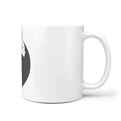 Huffle-Pickffle Yin Yang Cat - Tazas de café para el horno y el congelador, diseño de gato Yin Yang para fiesta de té, color blanco, 330 ml