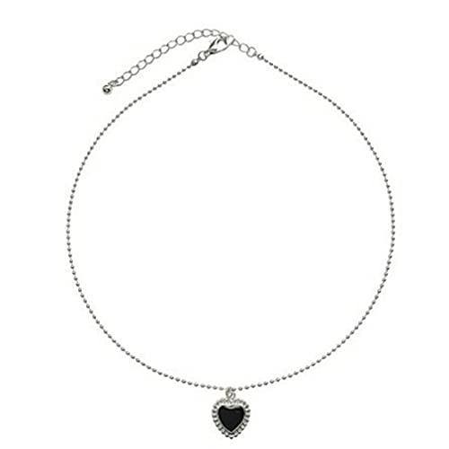 GWN Collar de corazón Negro Cadena de clavícula de Amor francés Colgante Corto Simple para Mujer Negro 44cm