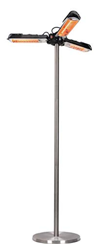 wei Calentador de sombrilla eléctrico para Patio Calentador Radiante Plegable 3 configuraciones de energía 500W 1000W 1500W Calentador Radiante infrarrojo para pérgola o Gazabo Estilo Poste