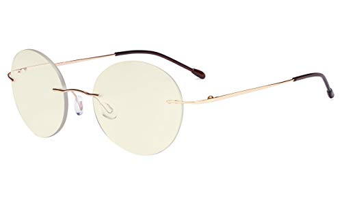 Eyekepper Randlose Gleitsichtbrille Multifokus-Lesebrille Blaulichtfilter Runde Retro-Lesebrille für Damen Herren Gold +1.00