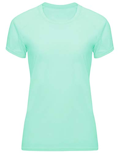 GO HEAVY Damen Funktions Fitness Sport T-Shirt Kurzarm Yoga Gym Sportshirt Raglanärmel Rundhals Atmungsaktiv Mintgrün XXL