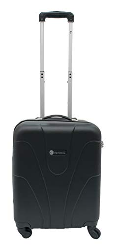 ITP International Luggage Bags for Travel - Hand Luggage ABS Hard Cabin Tripp Suitcase - 4 Spinner Wheels Cabin Case - Carry On Suitcase Black, Small (22 inch)