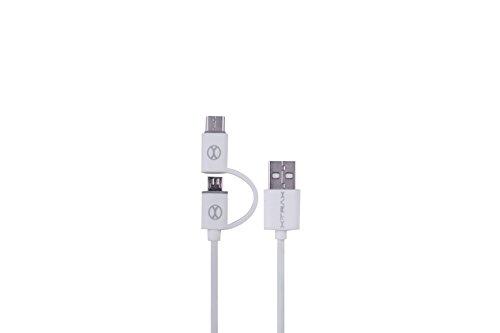 Xtrax Cabo 2 x 1 Micro USB com Adaptador, 801905, Branco
