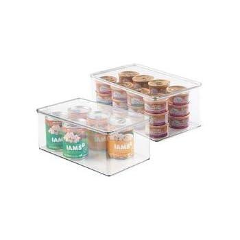 mDesign Juego de 2 Cajas de almacenaje apilables y con Tapa para la Comida de su Mascota – Contenedores para Comida de Perros y Otras Mascotas – Envases para Alimentos – Transparente: Amazon.es: Hogar