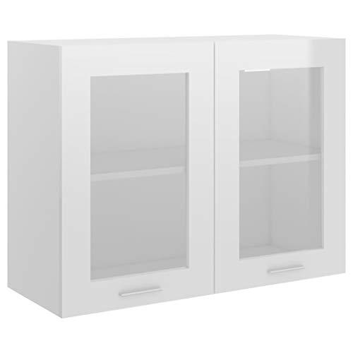 vidaXL Armario de Cocina Muebles Mobiliario Duradero Mesa de Trabajo Almacenamiento Cuenco Plato Olla Alacena Aglomerado Blanco Brillante 80x31x60 cm