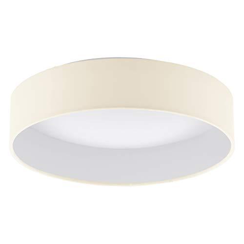 EGLO LED Deckenlampe Palomaro, Deckenleuchte Stoff, Wohnzimmerlampe aus Textil, Kunststoff, Farbe: creme, weiß, Ø: 32 cm