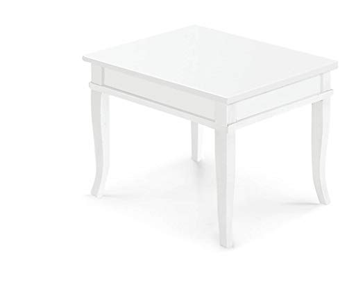 Milani Home s.r.l.s. Tavolino Bacheca Bianco 60 X 60 per Interno Sala da Pranzo Salotto Cucina Arte Povera Massello